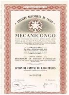 """Titre Ancien - Ateliers Mécaniques Du Congo """"MECANICONGO""""- Sté Congolaire Par Actions à Reponsabilité Limitée - 1951 - Afrika"""
