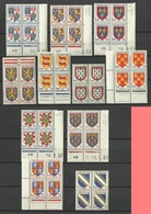 Petit Lot De 5 Coins Datés & 6 Blocs De 4 - 1941-66 Armoiries Et Blasons