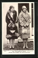 Postal H.M. The Queen Of Spain With Her Elder Daughter, The Infanta Beatrice - Case Reali