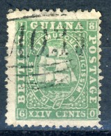 """1860-75 British Guiana VF Used 24 Cent Classic Stamp """"Tall Ships"""" YT # 19 - Guyane Britannique (...-1966)"""