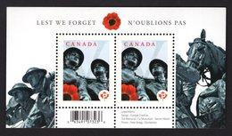 Canada 2009 R Blok WWI World War Lest We Forget Poppy Flowers Soldiers Horses Animals Great War Weltkrieg Guerre Geurra - Militaria