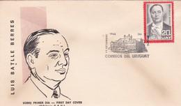 1966 FDC URUGUAY-  LUIS BATLLE BERRIES- BLEUP - Celebridades