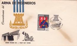 1966 FDC URUGUAY-  CINCUENTENARIO DEL ARMA DE INGENIEROS- BLEUP - Militaria