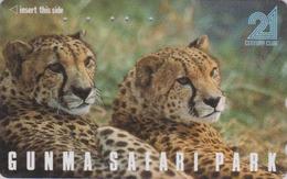 Télécarte Japon / 110-011 - ** Série GUNMA SAFARI PARK ** - ANIMAL GUEPARD FELIN - CHEETAH FELINE Japan Phonecard - 414 - Jungle