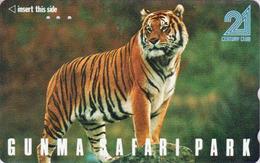 Télécarte Japon / 110-011 - ** Série GUNMA SAFARI PARK ** - ANIMAL TIGRE FELIN - TIGER FELINE Japan Phonecard - 417 - Jungle