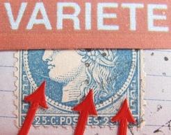R1861/726 - ✉️ - CERES N°60A - FLAVY-LE-MARTEL  > PARIS - VARIETE ☛ GRANDE LIGNE BLANCHE SUR LE MENTON ET LE COU - 1871-1875 Cérès