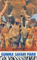 TC Japon / 110-016 - * Série GUNMA SAFARI PARK * ANIMAL - ELEPHANT PANDA TIGRE LION GIRAFFE RHINO ZEBRE LAMA Japan Pc - Jungle