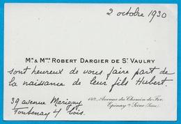 Carte FAIRE-PART De Naissance Mr & Mme ROBERT DARGIER DE ST VAULRY 93 Epinay-sur-Seine - Naissance & Baptême