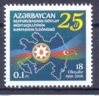 2016. Azerbaijan, 25y Of Independence, 1v, Mint/** - Azerbaïdjan