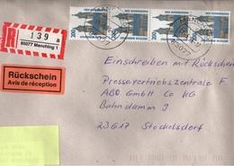 ! 1 Einschreiben Rückschein 1996  Mit R-Zettel  Aus 85077 Manching , MeF, Mehrfachfrankatur Magdeburger Dom - R- & V- Vignetten