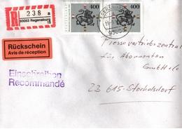 ! 2 Einschreiben 1996 Mit R-Zettel  Aus 93057, 93053 Regensburg, MeF 1805 Heinrich Der Löwe - R- & V- Viñetas