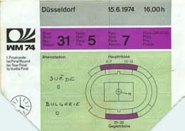 110719A - BILLET TICKET ENTREE FOOTBALL - COUPE DU MONDE 1974 ALLEMAGNE WM74 Stade DUSSELDORF Suède Bulgarie - Soccer