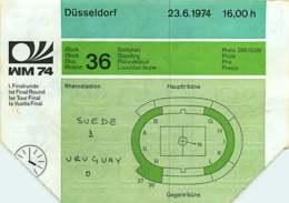 110719A - BILLET TICKET ENTREE FOOTBALL - COUPE DU MONDE 1974 ALLEMAGNE WM74 Stade DUSSELDORF Suède Uruguay - Soccer