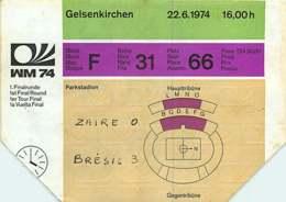 110719A - BILLET TICKET ENTREE FOOTBALL - COUPE DU MONDE 1974 ALLEMAGNE WM74 Stade GELSENKIRCHEN Zaïre Brésil - Soccer