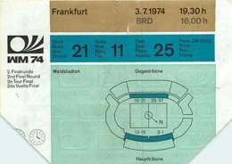 110719A - BILLET TICKET ENTREE FOOTBALL - COUPE DU MONDE 1974 ALLEMAGNE WM74 Stade FRANKFURT Pologne RFA - Soccer