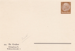 ALLEMAGNE ENTIER POSTAL PRIVE DR. GRUBER KONIGSBERG PR. DEUTSCHES REICH 3 M  RARE !!! - Allemagne
