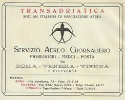TRANSADRIATICA SERVIZIO AEREO GIORNALIERO PASSEGGERI, MERCI, POSTA 1928   PUBBLICITA' RIT. DA GIORNALE (22) - Pubblicitari