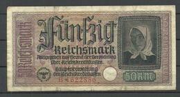 Germany WWII Occupation 1940-1945 Bank Note 50 Reichsmark, Seria B, Used - [ 9] Duitse Bezette Gebieden