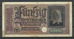 Germany WWII Occupation 1940-1945 Bank Note 50 Reichsmark, Seria A, Used - [ 9] Duitse Bezette Gebieden