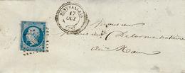 1858- Enveloppe De PONTVALLAIN ( Sarthe ) Cad T22 Affr. N°14 Oblit. P C 2541 - Storia Postale