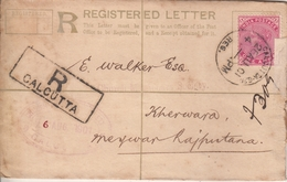 India  1901  QV  2A  PS  REgistration Envelope  Calcutta To Kherwara, Mewar  # 24444  D  Inde Indien - 1882-1901 Empire