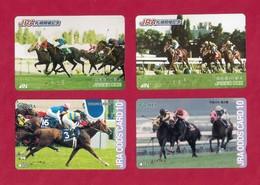 4 Télécarte Japonaise.   Animaux.  Cheval.  Courses De Chevaux. - Horses