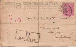 India  1901  QV  2A  PS  REgistration Envelope  Calcutta To Kherwara, Mewar  # 24446  D  Inde Indien - 1882-1901 Empire