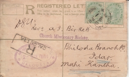 India  1901  QV  2A  PS  REgistration Envelope  Calcutta To  Biloda Branch P. Idar  Mahi Kantha  # 24445  D  Inde Indien - 1882-1901 Empire