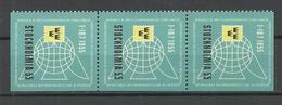 SWEDEN 1955 Stockholmia Stamp Exhibition Poster Stamp Vignette 3-stripe MNH - Erinnofilia
