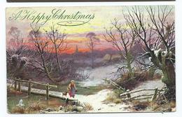 Christmas Postcard Tuck's Oilette Winter Scenes Posted 1905 A Happy Christmas - Navidad