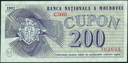 MOLDOVA ~ MOLDAVIA - 200 Cupon 1992 {Banca Naţională A Moldovei} UNC P.2 - Moldawien (Moldau)