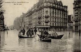 CPA Inondations De Paris Janvier-février 1910 Rue De Lyon - Animée - De Overstroming Van 1910