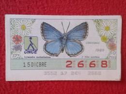 CUPÓN DE LA ONCE LOTERIE LOTTERY CIEGOS SPAIN LOTERÍA BLIND ESPAÑA ESPAGNE 1986 MARIPOSA BUTTERFLY PAPILLON LICENIDOS VE - Billetes De Lotería