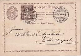 SUISSE 1874 ENTIER POSTAL/GANZSACHE/POSTAL STATIONERY  CARTE DE ZURICH - Enteros Postales