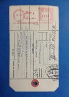 1982 AFFRANCATURA MECCANICA ROSSA EMA RED SU BOLLETTINO PACCO STORY LORIS SRL DESENZANO DEL GARDA BRESCIA - Affrancature Meccaniche Rosse (EMA)
