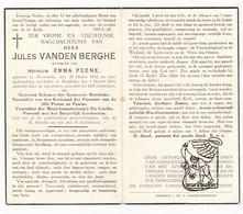 DP Schepen - Jules VandenBerghe ° Moorsele Wevelgem 1852 † Rumbeke Roeselare 1943 X E. Peene / Muziek St.-Cecilia - Images Religieuses