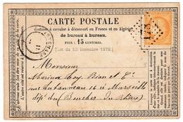 Carte Postale Artemare Ain 1873 Cachet Gros Chiffres 178  Marseille Bouches Du Rhône Timbre Cérès 15 Centimes - 1871-1875 Cérès