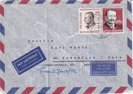 BERLIN 1958 PLI AERIEN DE BERLIN POUR FRANKFURT - Cartas