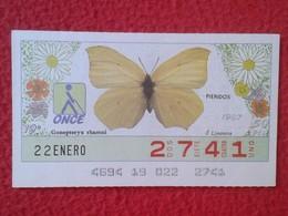 CUPÓN DE LA ONCE LOTERIE LOTTERY CIEGOS SPAIN LOTERÍA BLIND ESPAÑA ESPAGNE 1987 MARIPOSA BUTTERFLY PAPILLON PIERIDOS VER - Billetes De Lotería
