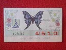 CUPÓN DE LA ONCE LOTERIE LOTTERY CIEGOS SPAIN LOTERÍA BLIND ESPAÑA ESPAGNE 1987 MARIPOSA BUTTERFLY PAPILLON ATACIDOS VER - Billetes De Lotería