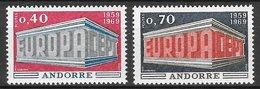 Andorre Français N°194 & 195 0,40c & 0,70c (Europa) 1969 ** - Unused Stamps