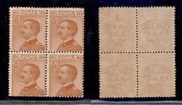 REGNO - 1926 - 60 Cent Michetti (206) - Quartina - Gomma Integra (120) - Unclassified