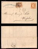 REGNO - 40 Cent (43-Francia) Sfuggito All'annullo (difettoso In Basso) Su Lettera Per Mare Da Marsiglia A Napoli Del 4.2 - Unclassified