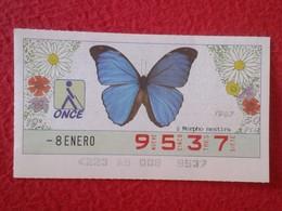 CUPÓN DE LA ONCE LOTERIE LOTTERY CIEGOS SPAIN LOTERÍA BLIND ESPAÑA ESPAGNE 87 MARIPOSA BUTTERFLY PAPILLON MORPHO RESTIRA - Billetes De Lotería