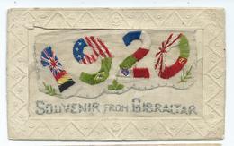 GIBRALTAR   A Souvenir From Gibraltar Silk Card 1920 Unused - Embroidered