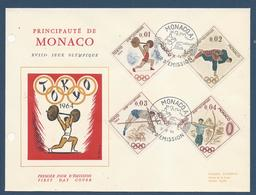 Monaco FDC - Premier Jour - Grand Format - Yt N° 654 à 657 - Jeux Olympiques De Tokyo - 1964 - FDC
