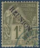 France Colonies Réunion N°28 Oblitéré Dateur Perlé Bleu TTB Signé Brun - Reunion Island (1852-1975)