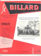 """Revue """" Le Billard """" N° 20 D'octobre 1963 (jm) - Sport"""