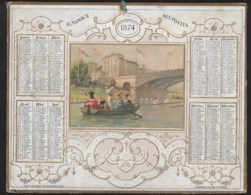 Almanach De Postes 1874  Scène Canotage Aviron  Peut -être Pont De Chatou? Help Me - Formato Grande : ...-1900