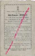 En 1872 Hondeghem  Et Borre (59) Julie SPANNEUT Ep Charles DEGRENDEL Né En 1790 - Décès